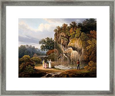 Figures By A Waterfall, 1825 Framed Print