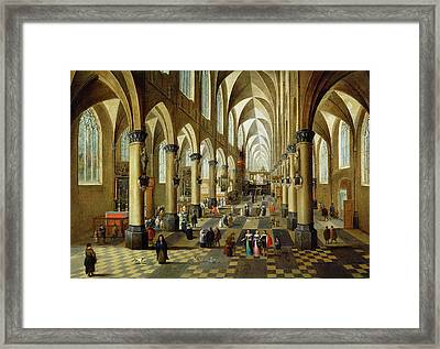 Figures Gathered In A Church Interior, 17th Century Framed Print by Pieter the Younger Neeffs