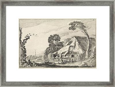 Figures In A Dilapidated Barn, Jan Van De Velde II Framed Print by Jan Van De Velde (ii)