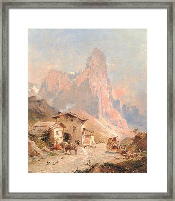 Figures In A Village In The Dolomites Framed Print by Franz Richard Unterberger