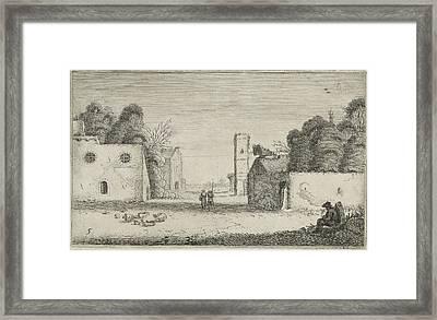 Figures In Ruins Of A Village, Jan Van De Velde II Framed Print by Jan Van De Velde (ii)