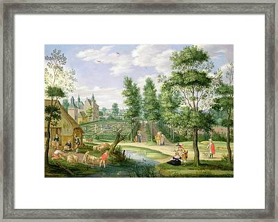 Figures In The Grounds Of A Country House Oil On Copper Framed Print