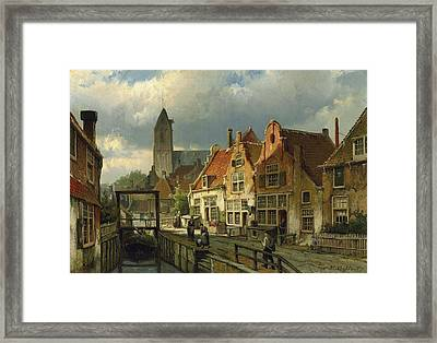 Figures On A Canal In Oudewater Framed Print