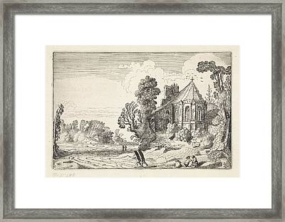 Figures On A Country Road Near A Church Ruin Framed Print by Artokoloro