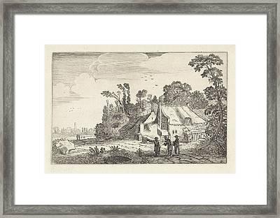 Figures On A Country Road Near A Farm, Jan Van De Velde II Framed Print by Artokoloro