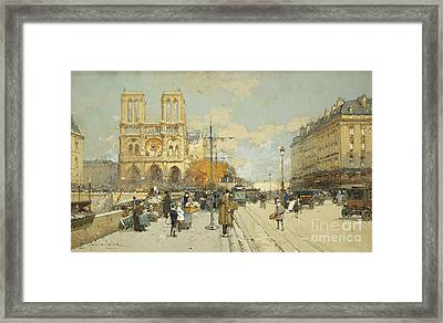 Figures On A Sunny Parisian Street Notre Dame At Left Framed Print