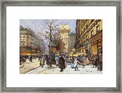 Figures On Le Boulevard St. Denis At Twilight Framed Print by Eugene Galien-Laloue