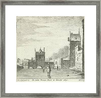 Figures On The Ice At The Gate Wittevrouwen Utrecht Framed Print by Anthonij Van Der Haer