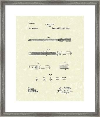 File 1890 Patent Art Framed Print by Prior Art Design