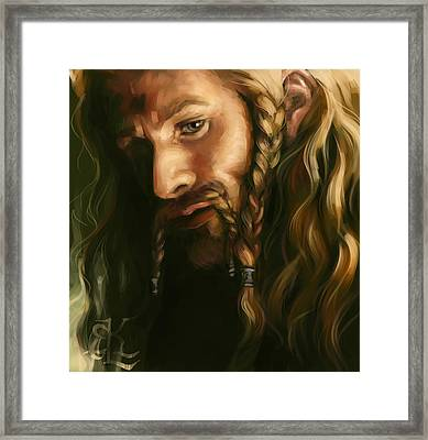 Fili-green And Gold Framed Print