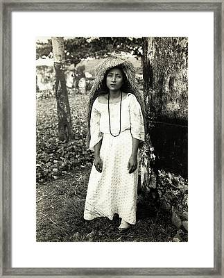 Filipino Woman In Traditional Rain Cape Framed Print