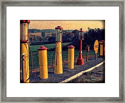 Fill 'er Up Vintage Fuel Gas Pumps Framed Print
