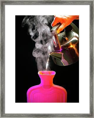 Filling A Hot Water Bottle Framed Print by Mark Sykes