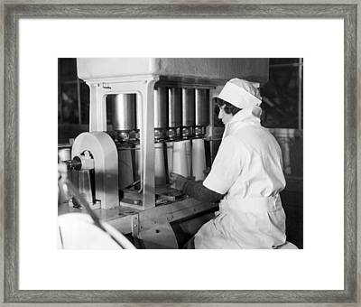 Filling Paper Milk Containers Framed Print by Underwood Archives