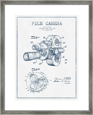 Film Camera Patent Drawing From 1938 - Blue Ink Framed Print by Aged Pixel
