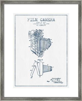 Film Camera Patent From 1948- Blue Ink Framed Print by Aged Pixel
