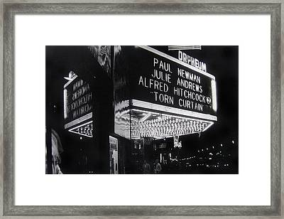 Film Homage Alfred Hitchcock Torn Curtain 1966 Orpheum Theater St. Paul Minnesota 1966 Framed Print by David Lee Guss