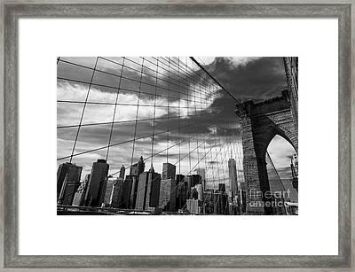 Film Noir Brooklyn Bridge Framed Print by Juan Romagosa