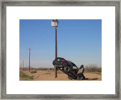 Film Noir Walter Hill Bruce Dern Ryan O'neal The Driver 1978 Car  Telephone Wire Arizona City Az Framed Print by David Lee Guss