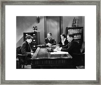 Film Still Office Scene Framed Print by Underwood Archives
