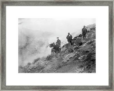 Filming Mount Etna Eruption Framed Print by Library Of Congress