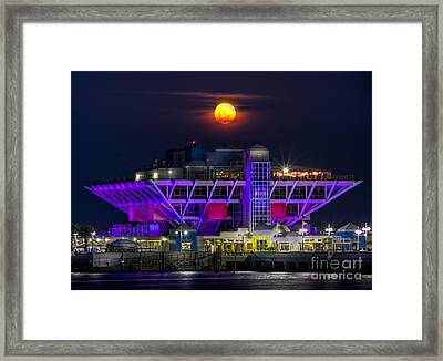 Final Moon Over The Pier Framed Print