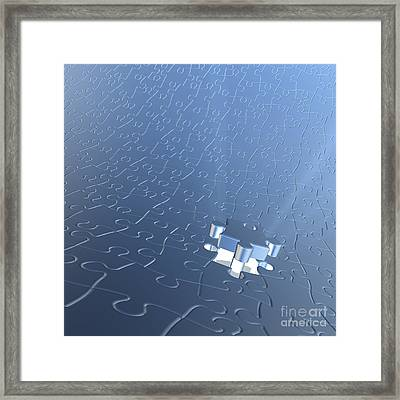 Final Piece Of The Jigsaw Puzzle Concept Framed Print by Christos Georghiou