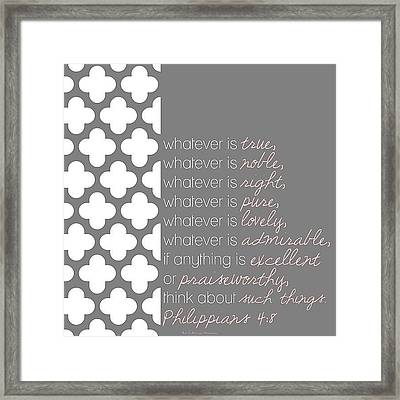 finally, Brothers, Whatever Is True Framed Print