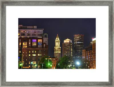 Financial District At Night - Boston Framed Print by Joann Vitali