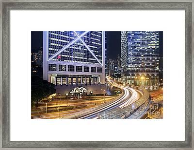 Financial District Of Hong Kong Framed Print by Lars Ruecker