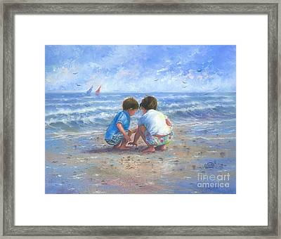 Finding Sea Shells Brother And Sister Framed Print