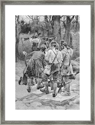 Finding The Body Of One Of Their Companions, Scalped And Horribly Mangled, Engraved By F.h Framed Print