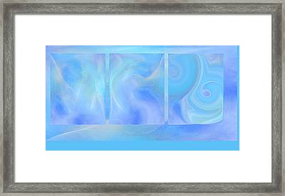 Fine Art Original Digital Abstract Untitled1bb4 As Blue Framed Print