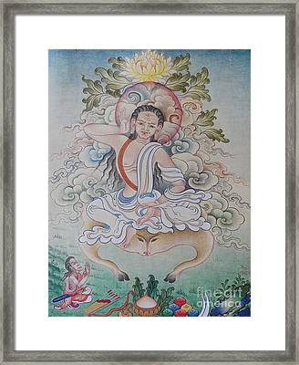 fine MiLAREPA scrolling paintings  Framed Print by Dhonden Tenzin