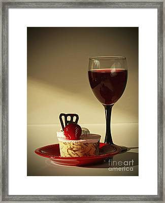 Fine Red Wine And Strawberry Marble Torte Dessert Framed Print by Inspired Nature Photography Fine Art Photography