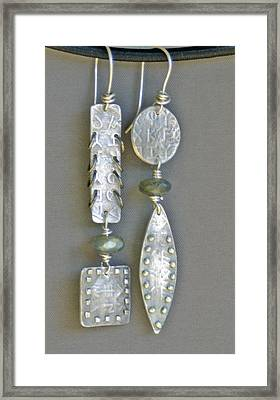 Fine Silver Mismatched Earrings Framed Print by Mirinda Kossoff