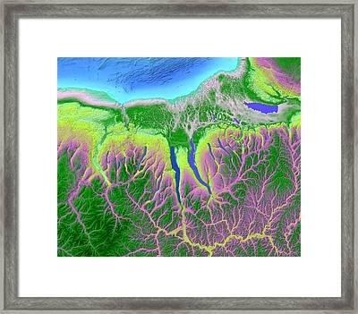 Finger Lakes Map Art Framed Print by Paul Hein