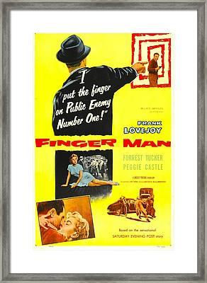 Finger Man, Us Poster, Bottom Inset Framed Print by Everett