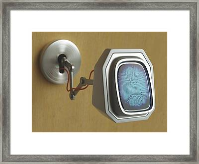 Fingerprint Scanner And Keyhole Framed Print by Ktsdesign
