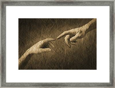 Fingers Almost Touching Framed Print