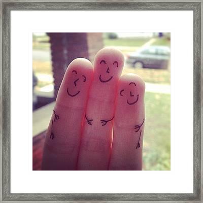 Fingers Hug Framed Print
