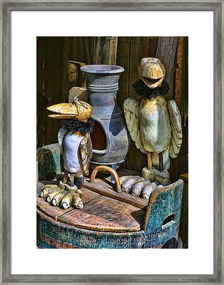 Finish Wooden Birds Framed Print by Linda Phelps