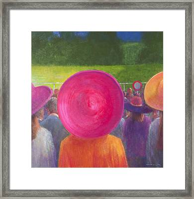 Finishing Post, Hats, 2014 Oil On Canvas Framed Print by Lincoln Seligman