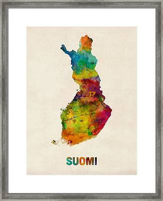 Finland Watercolor Map Suomi Framed Print by Michael Tompsett