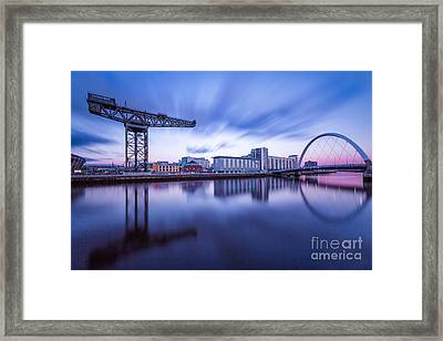 Finnieston Crane And Glasgow Arc Framed Print by John Farnan