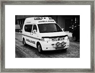 Finnmark Health Service Ambulance Honningsvag Norway Europe Framed Print