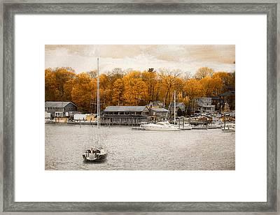 Finn's Harborside East Greenwich Rhode Island Framed Print by Lourry Legarde