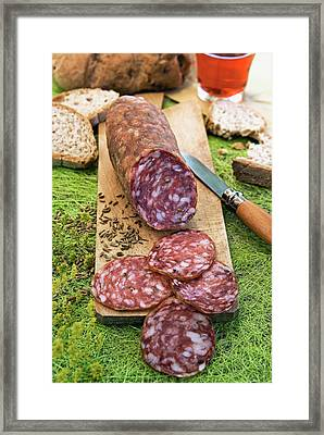 Finocchiona, Tuscan Salami With Wild Framed Print by Nico Tondini