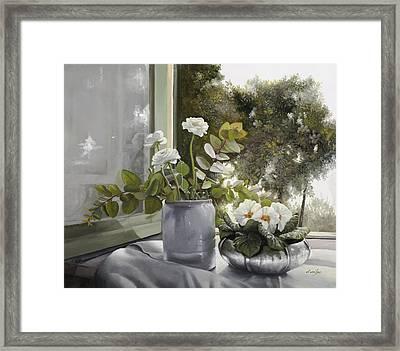 Fiori Bianchi Alla Finestra Framed Print by Danka Weitzen