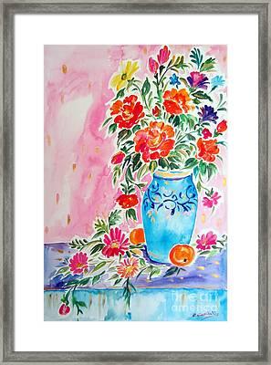 Fiori Nel Vaso Blu Framed Print by Roberto Gagliardi